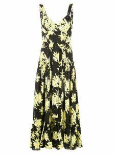 Proenza Schouler Splatter Floral Sleeveless Tiered Dress - Black