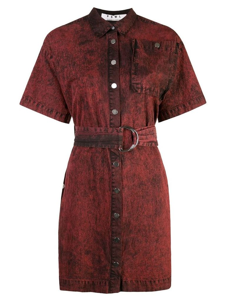 Proenza Schouler PSWL Crinkled Cotton Belted Dress - Red