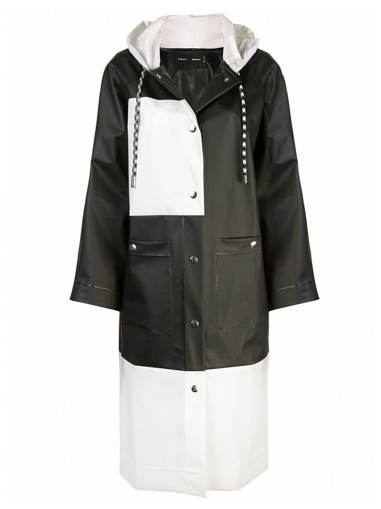 Proenza Schouler Colorblocked Long Raincoat - Black