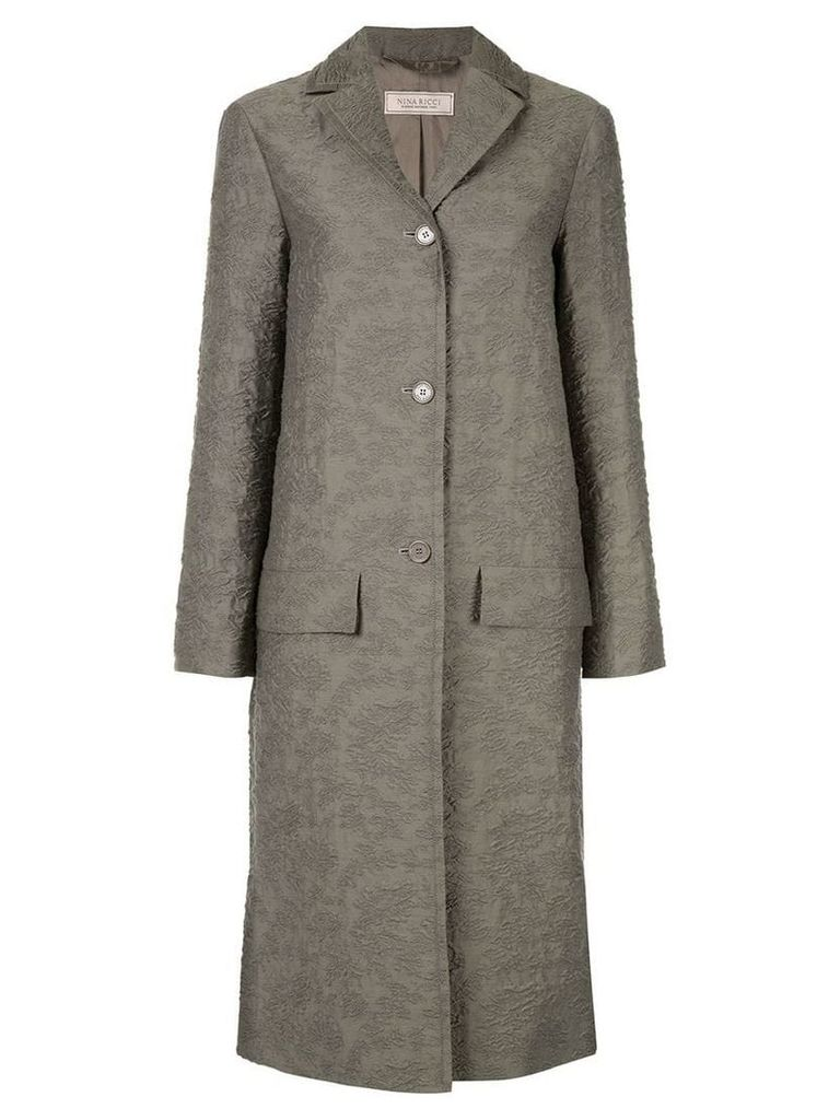 Nina Ricci textured single breasted coat - Grey