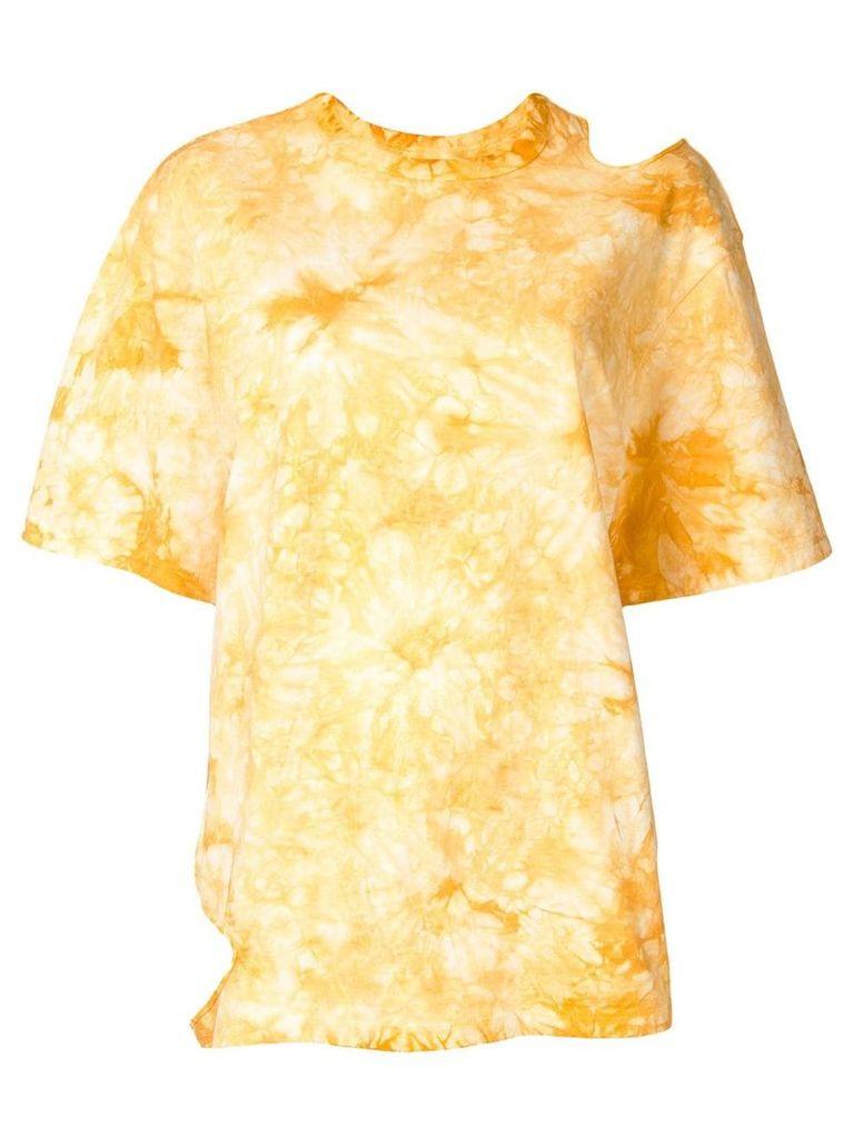 Le Ciel Bleu cut out detail T-shirt - Yellow