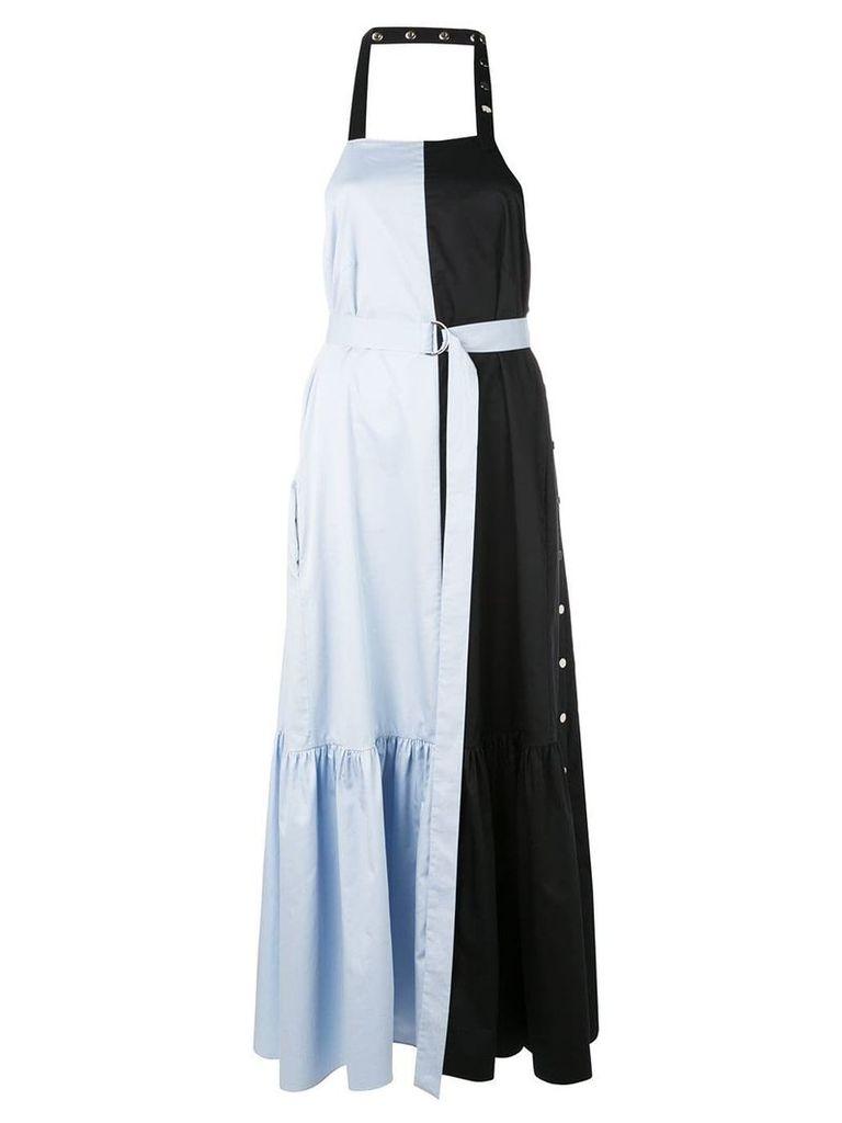 Tibi Tech Poplin Colorblock Dress - Blue