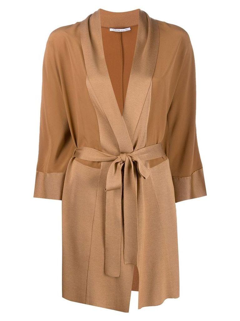 Agnona wrap midi coat - Brown