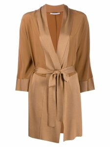 Agnona wrap midi coat - Brown
