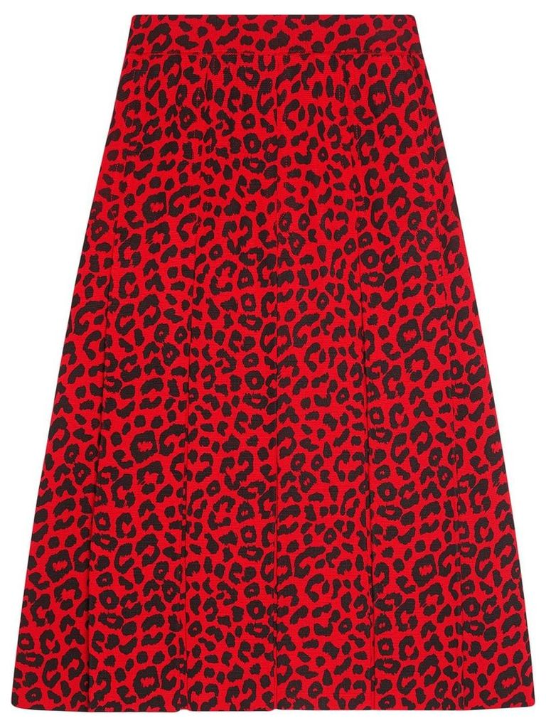 Gucci Skirt with leopard print - Red