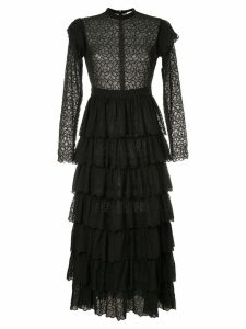 Sir. Florrié embroidered ruffle dress - Black