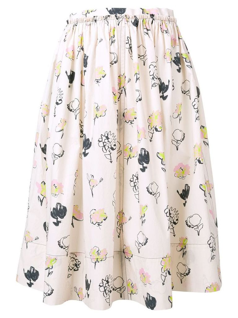 Marni painted rose skirt - Neutrals