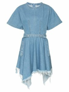 Marques'Almeida asymmetric-hem belted denim dress - Blue