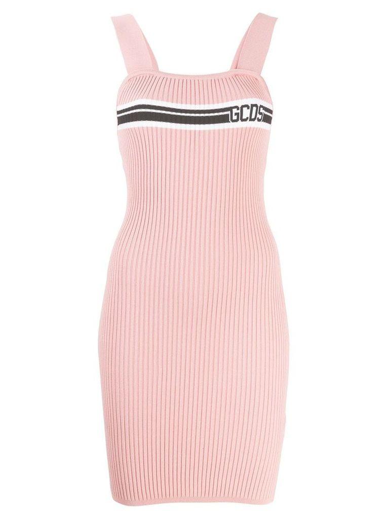 Gcds logo print ribbed mini dress - Pink