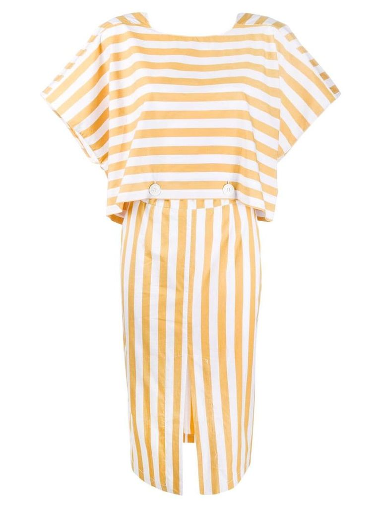 Tela striped midi dress - White