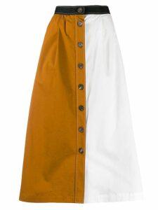 Isa Arfen colour block button-through skirt - White