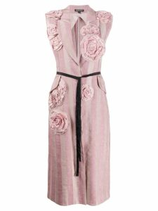 Ann Demeulemeester embroidered flower sleeveless coat - Pink