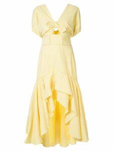 Jonathan Simkhai off-shoulder gingham dress - Yellow