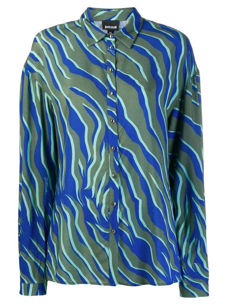 Just Cavalli zebra print oversized shirt - Blue