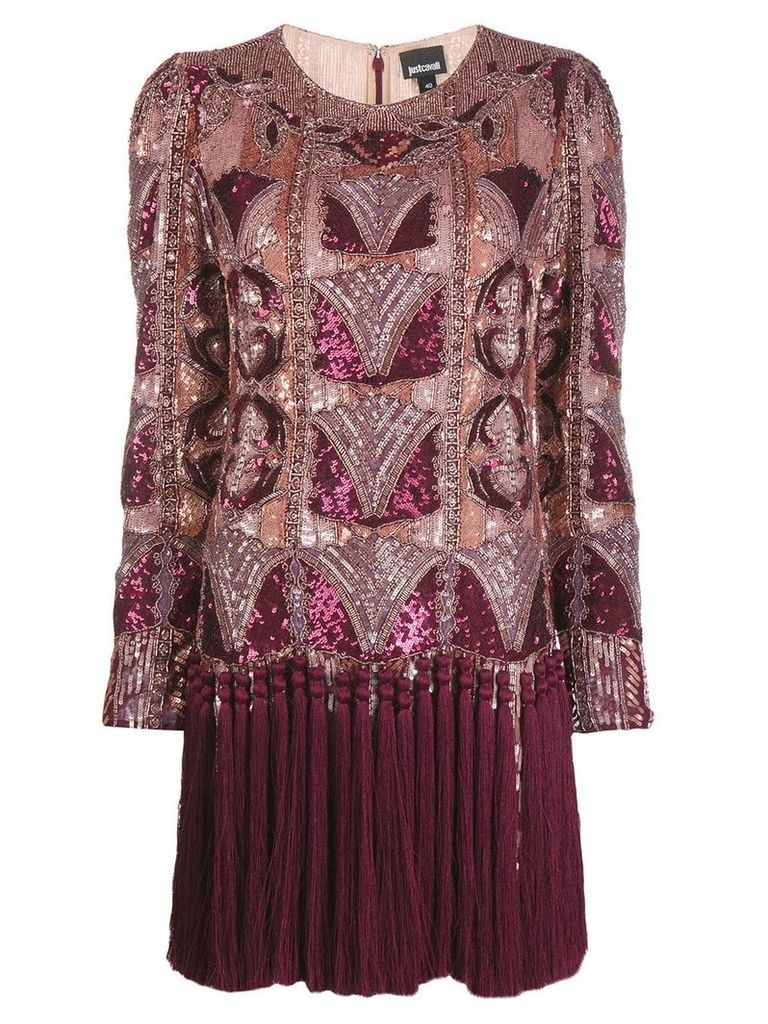 Just Cavalli sequinned fringe hem shift dress - Red
