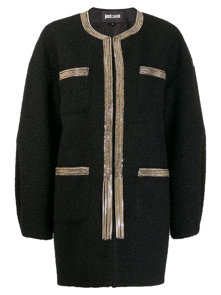 Just Cavalli chain trim cocoon coat - Black