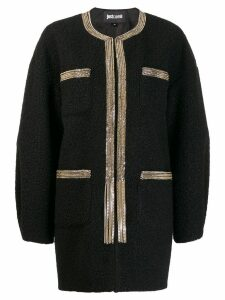 Just Cavalli chain trim cocoon coat - Black