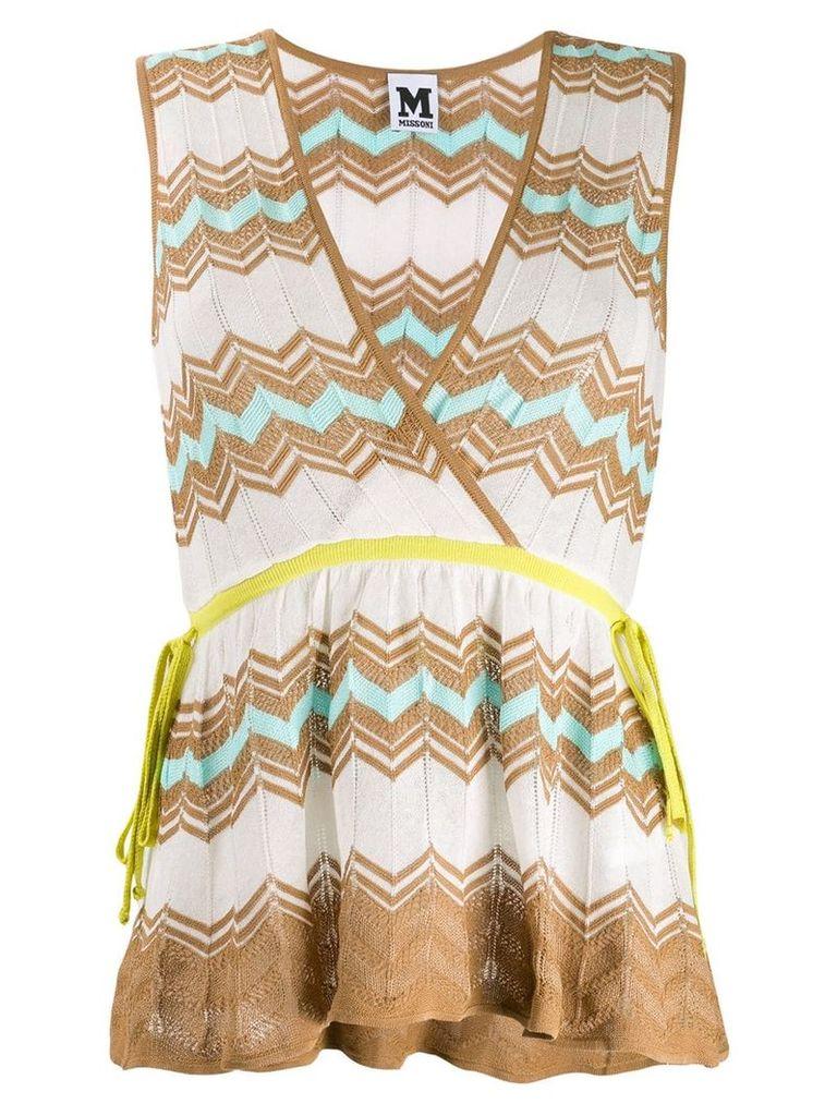 M Missoni zigzag motif wrap top - White
