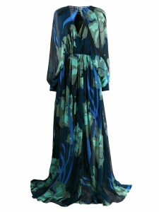 Just Cavalli floral print gown with removable sleeve bolero - Blue