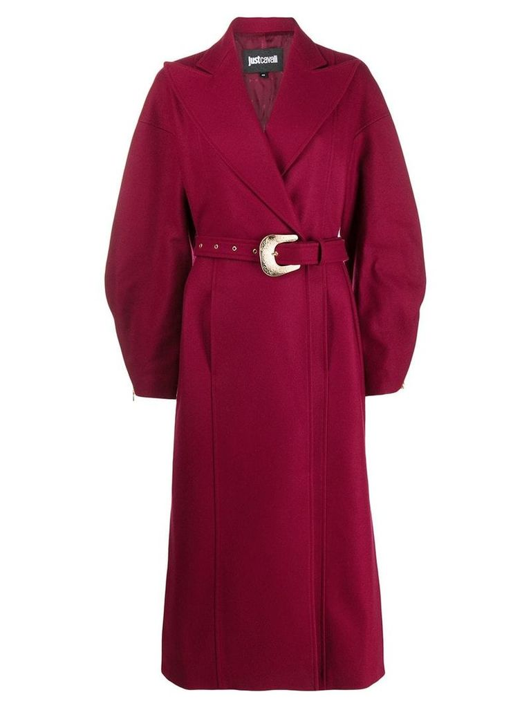 Just Cavalli long belted coat - Red