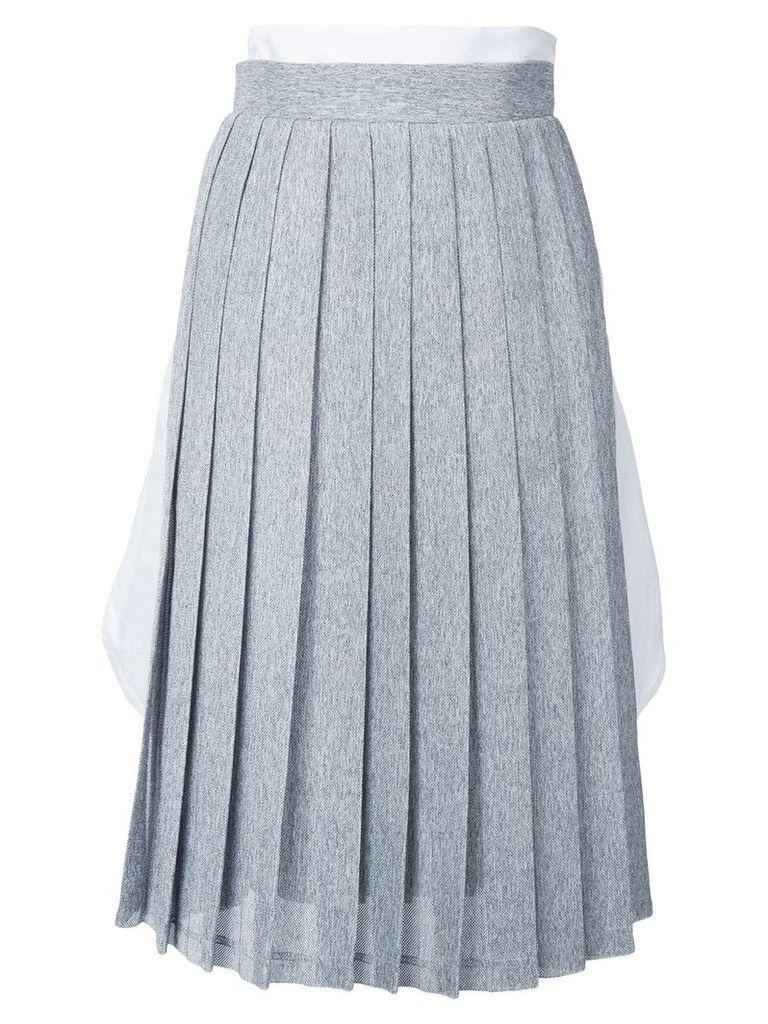 Steven Tai tucked in shirt pleated skirt - Grey, White