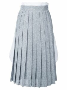 Steven Tai tucked in shirt pleated skirt - Grey, White
