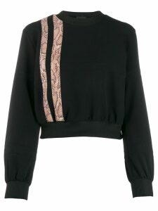 Just Cavalli snake effect stripe sweatshirt - Black
