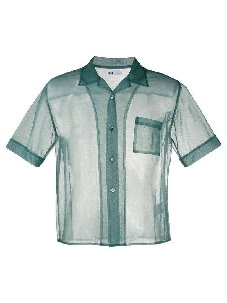 GmbH sheer camp collar shirt - Blue