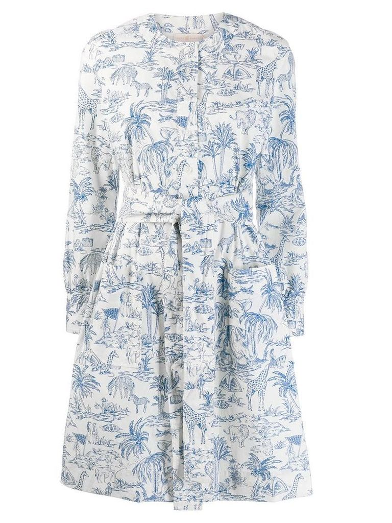 Tory Burch printed tie-waist dress - White