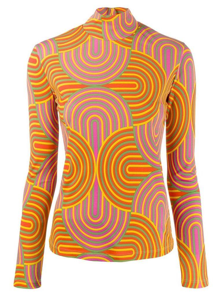 La Doublej roll neck geometric print sweater - Yellow