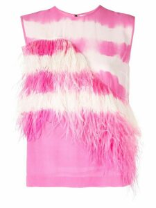 MSGM feather embellished top - Pink