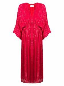 Sundress plunge neck midi dress - Red