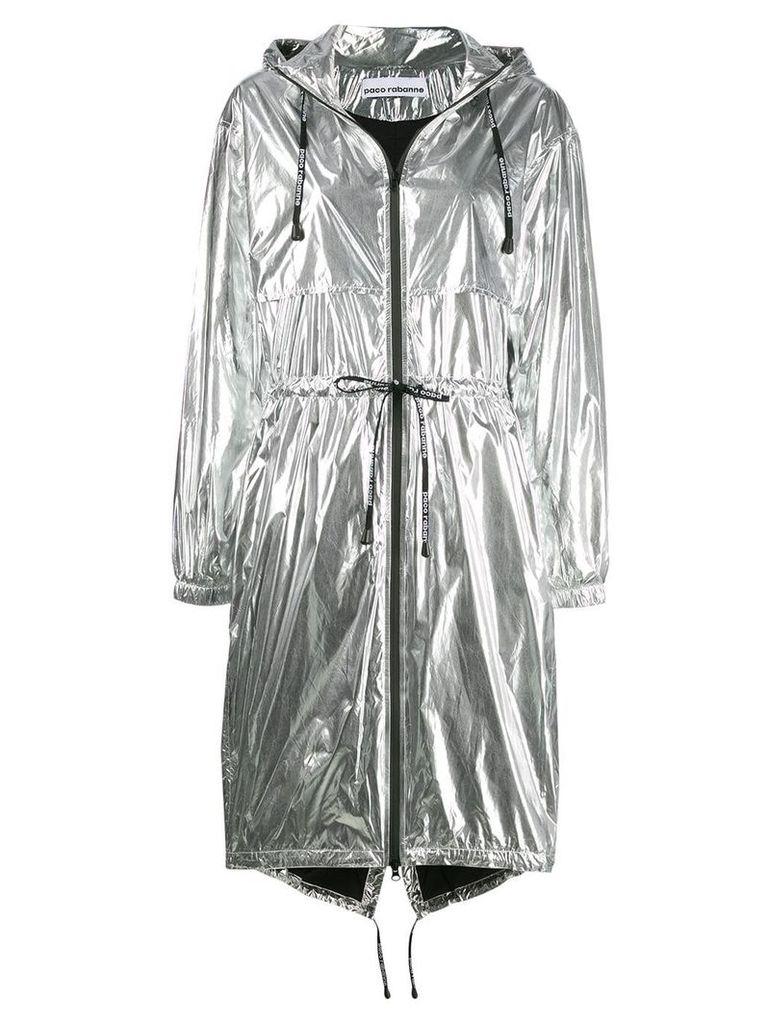 Paco Rabanne metallic parka coat - Silver