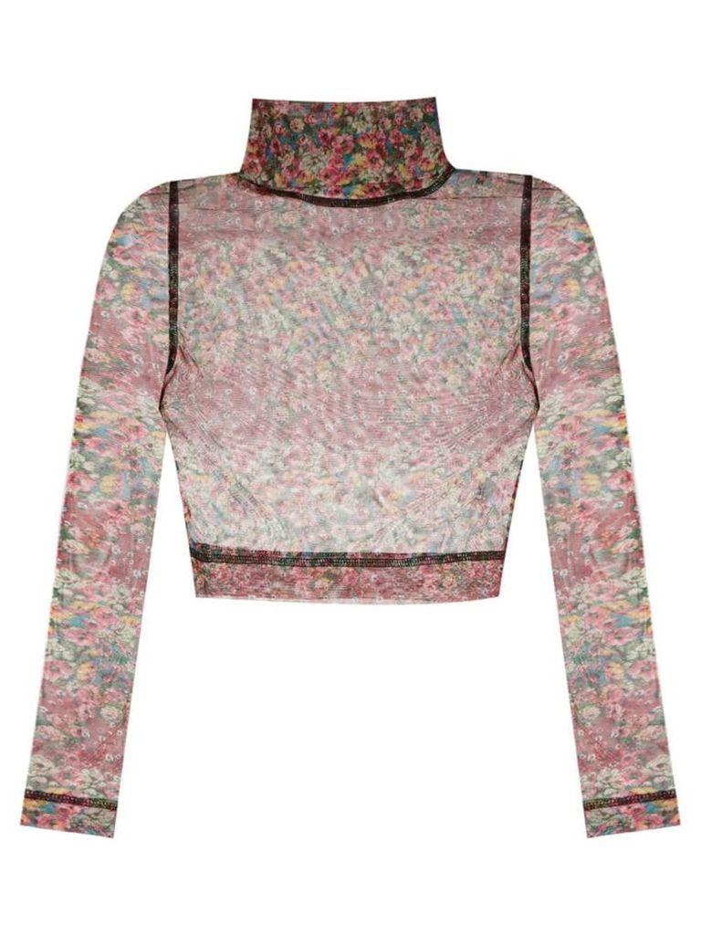 À La Garçonne sheer cropped blouse - Multicolour