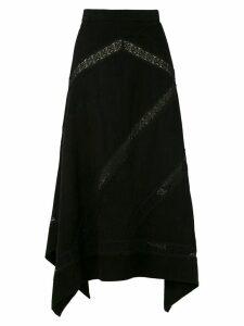 Clé leather asymmetrical skirt - Black
