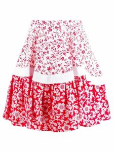 Alexander McQueen floral A-line skirt - Red