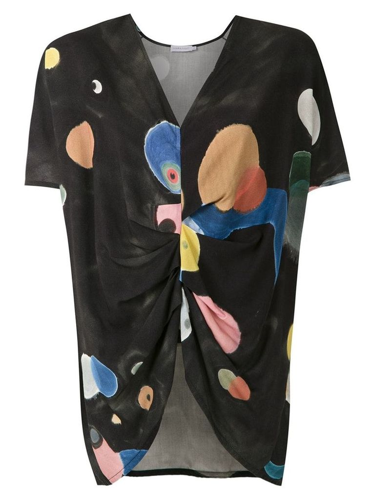Mara Mac printed draped blouse - Black