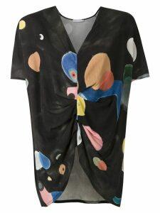 Mara Mac printed draped blouse - Black