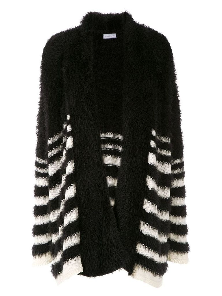 Mara Mac striped knit cardi-coat - Black