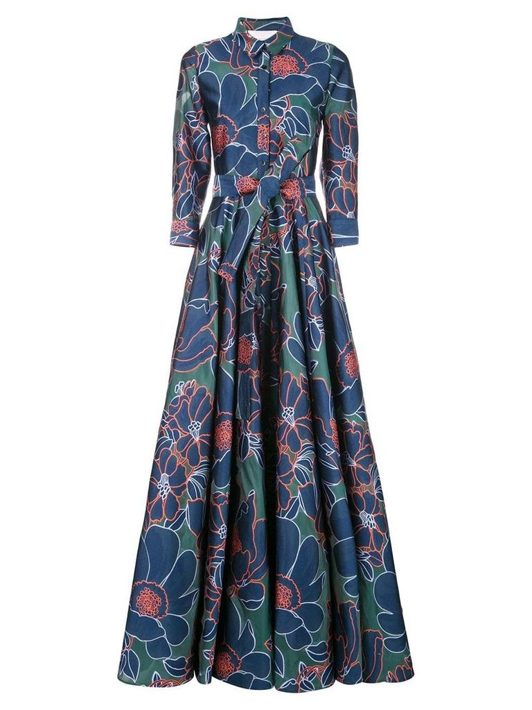 Carolina Herrera floral print gown - Blue