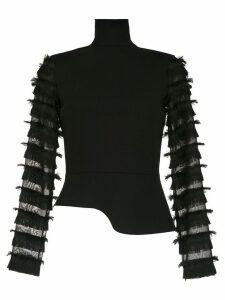 Gloria Coelho fringed long sleeved top - Black