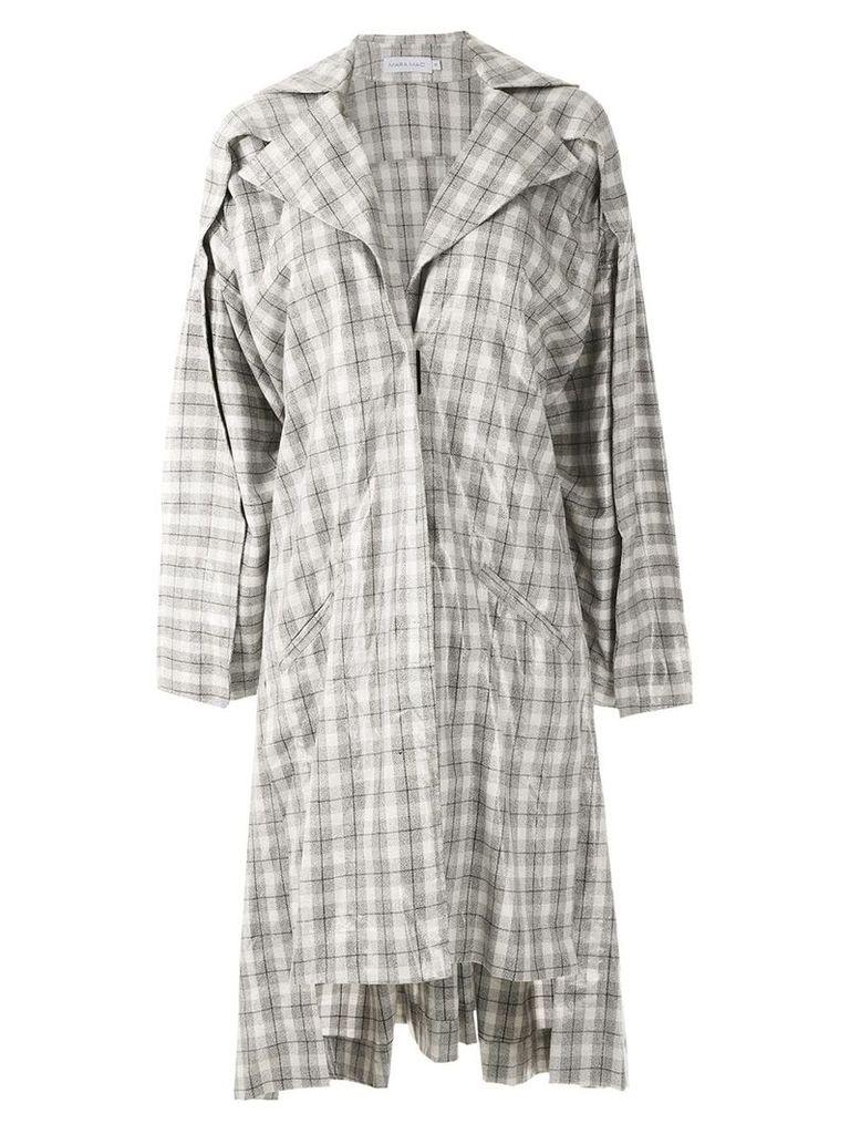Mara Mac oversized checked coat - Grey