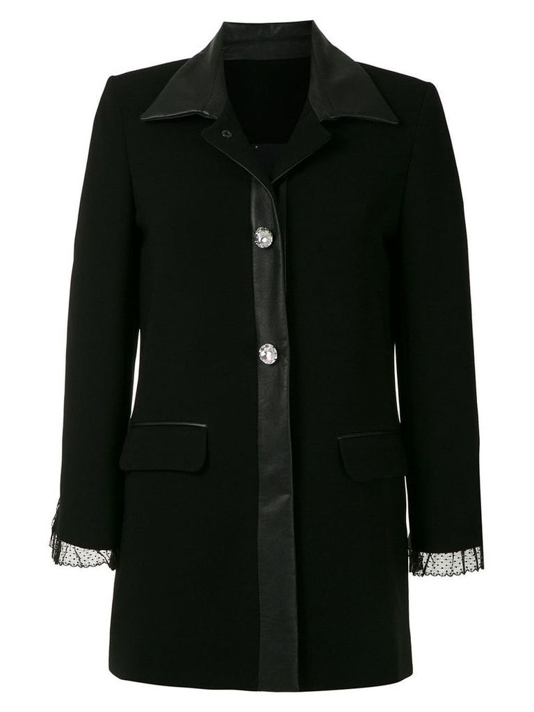 Andrea Bogosian lace detail coat - Black