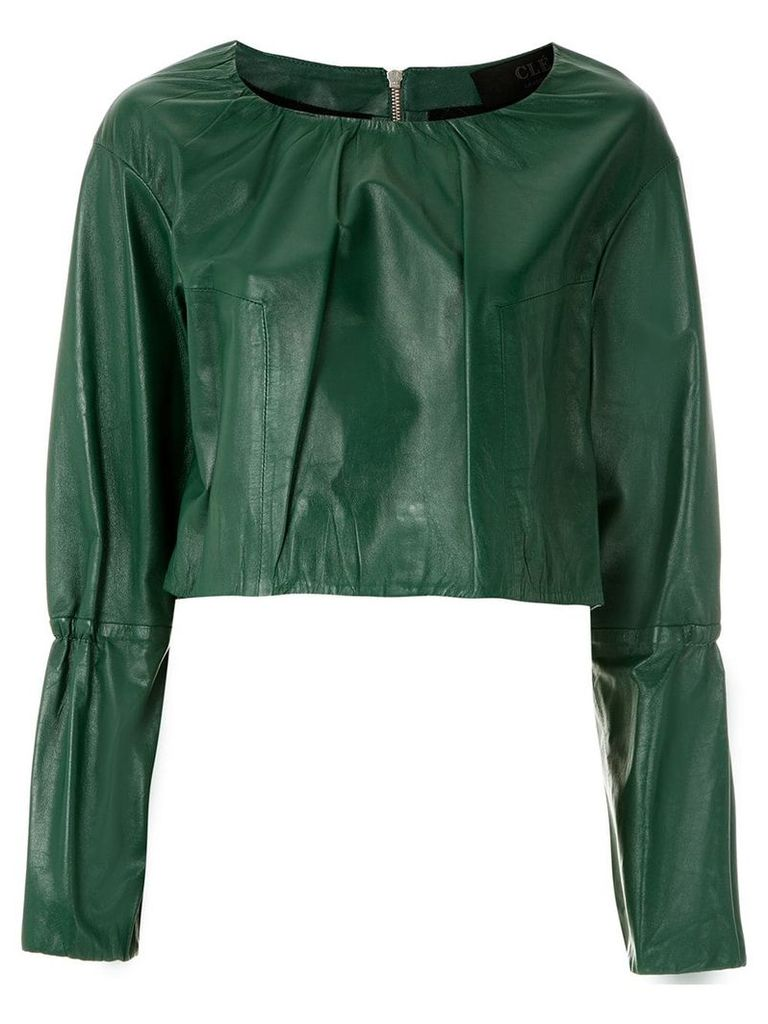 Clé leather cropped top - Green