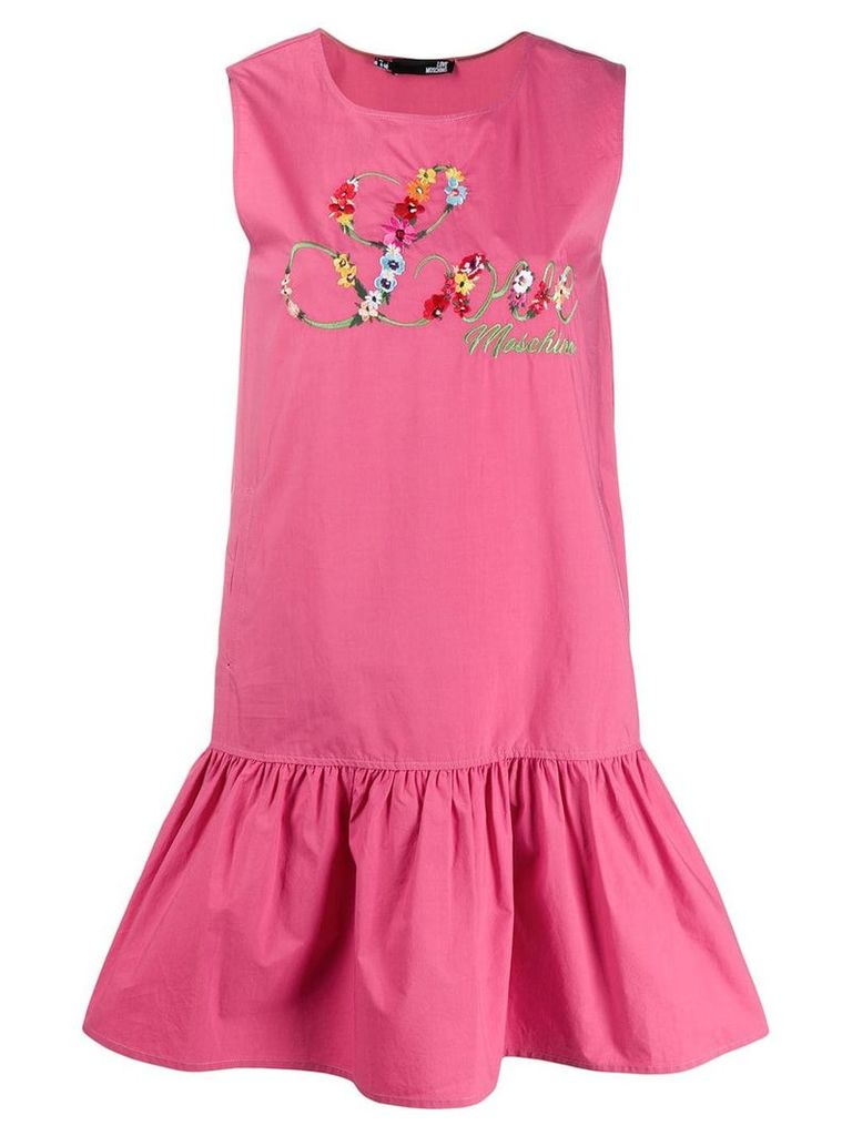 Love Moschino floral embroidered logo dress - Pink