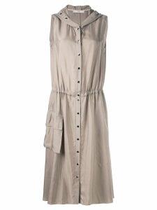 Tibi Cupro anorak sleeveless midi dress - Brown