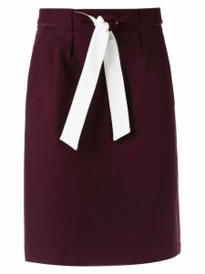 Egrey belted straight skirt - Red