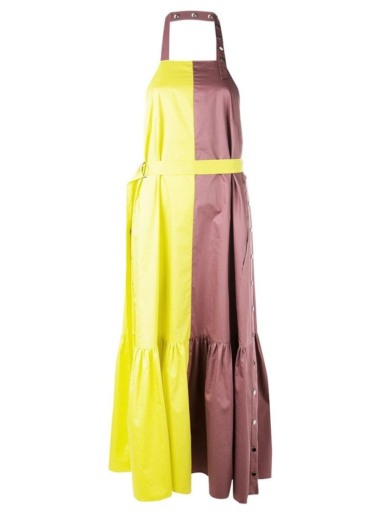 Tibi cotton poplin colourblock dress - Yellow