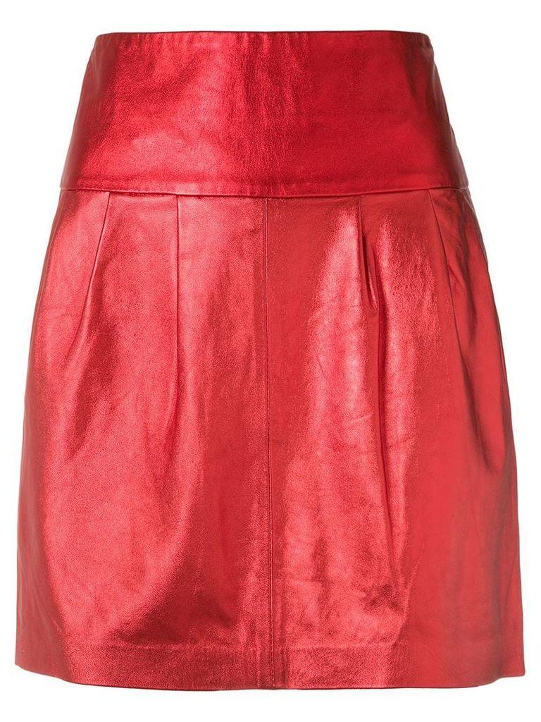 Andrea Bogosian metallic leather skirt - Red