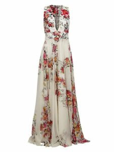 Zuhair Murad floral print flared gown - White